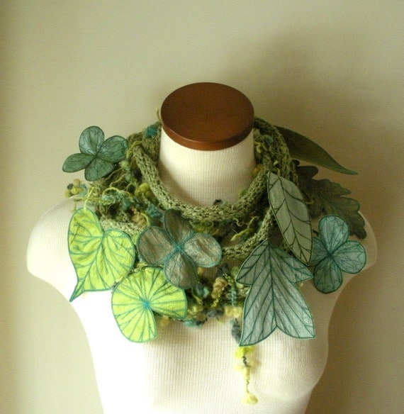 Long and Leafy Scarf with Embroidered Leaves- Light Sage Green with Teal and Apple Green Berries- Fiber Art Scarf