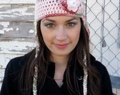 Valentine's Pinks & Green Nordic Hat with Heart Accents