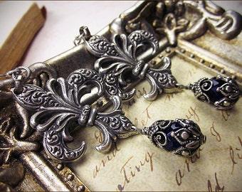 Fleur de Lys Earrings, Renaissance Fleur Jewelry, Fleur de Lis, Marie Antoinette, Renaissance Earrings, Tudor