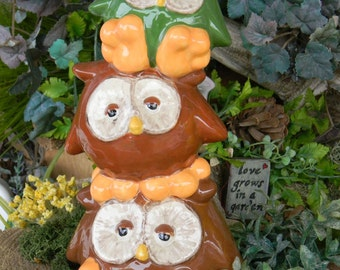 OWL Bank  Ceramic  Glazed   hootie Owl  ...Owlet baby shower Nursery hoot Owl Stack green brown