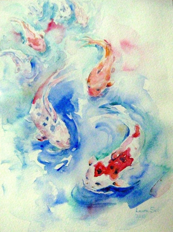 Eight koi painting original koi watercolor lucky fish painting for Koi fish art paintings