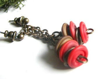 Red Glass Earrings, Deep Red Glass Lampwork Discs, Antiqued Brass, Rustic, Earthy, Chain, Dangle, Rustic Jewelry