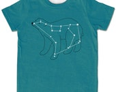 Ursa Major, Bear Constellation Shirt, evergreen short sleeve, metallic silver foil print, animal stars space print