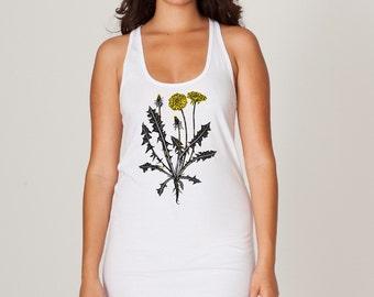 Women's sleeveless dress, Dandelion tank top, womens clothing sale, xs jersey cotton hand printed, garden flower design with yellow flowers