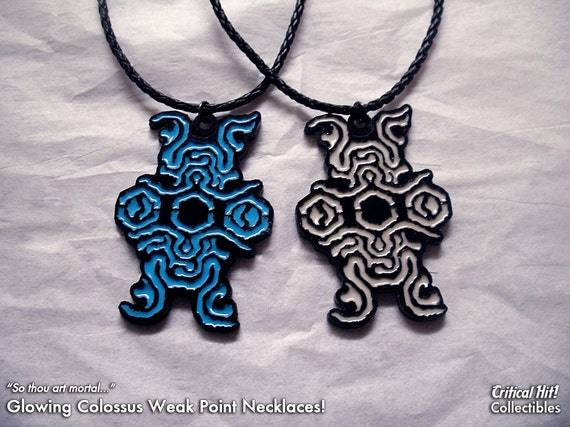 Glowing Colossus Sigil Necklace - shadow of colossus video game jewelry geek pendant nerd gifts acrylic