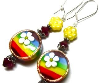 Rainbow Earrings Colorful Earrings Funky Earrings Floral Earrings Lampwork Earrings Unique Earrings Glass Bead Earrings Artisan Earrings