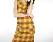 Vintage 1960s Plaid Mod Mini Shift Dress by Peck & Peck size Medium Yellow Red Wool