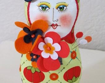 Matryoshka art doll needlecushion
