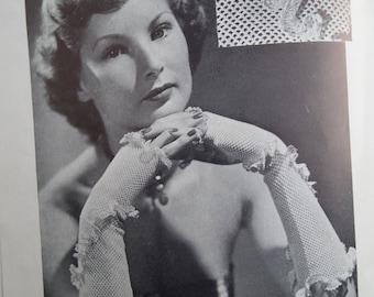 Vintage 1940s Sewing Knitting Needlework Magazine - Needlewoman and Needlecraft 1949 UK - 40s knitting patterns - crochet evening gloves