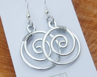 Large Circle. Aluminum. Earrings.  Wire Jewelry.
