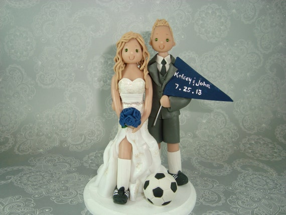 soccer player wedding cake toppers custom soccer theme wedding cake topper 20273
