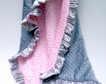 Personalized Blanket, Minky Baby Blanket, Baby Girl Blanket, Embroidered Blanket, Pink Gray Quilt, Silver Pink Blanket, Swaddle Blanket