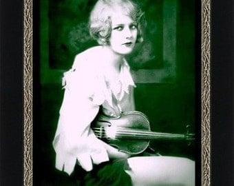 Girl with Violin circa 1922 - Giclee Art Print