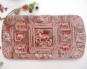 Horse Platter - Handmade Dinnerware - Wedding Gift -  equestrian - horse table setting - ruby red