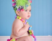 Purple Pink Black Lime Turquoise Summer Bright Over The Top Funky Birthday Boutique Hair Bow on matching Headband