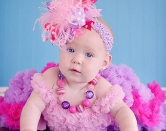 Light Pink Shocking Pink Orchid Purple Over The Top Funky Birthday Boutique Hair Bow on matching Headband