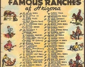 Arizona Vintage Linen Postcard - Famous Ranches of Arizona (Unused)