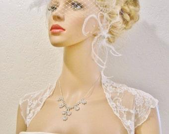 STRETCHY Delicate Vintage Style Lace Bolero, Lace Bridal Shrug