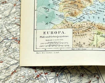 1895 German Vintage Map of the Rivers and Mountains of Europe - TW13 107 - Vintage Europe Map