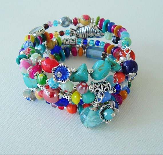 Boho Bracelet, Bohemian Jewelry, Colorful, Layered Gypsy Bracelet