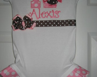 Baby Girls Owl monogrammed bodysuit, owl outfit, owl Birthday outfit, pink and brown owl, cake smash
