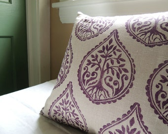 Deep Purple and Warm Gray Tree and Fern hand block printed linen moroccan decorative pillow cover your choice of size