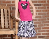Minnie mouse inspired ruffle tank top and ruffled zebra skirt sizes 6 - 10