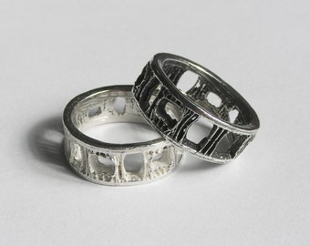 Silver Shark Vertebra Ring - Medium Size