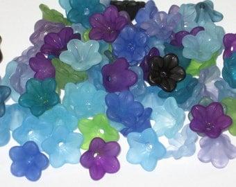 SALE 50 Lucite Flower Beads Acrylic Flower Beads Pretty Petals 12mm - 14mm Atlantis Mix