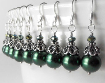 Green pearl earrings, dark green wedding, pearl bridesmaid earrings, bead earrings, holiday dangle earrings, hunter green, gift under 20