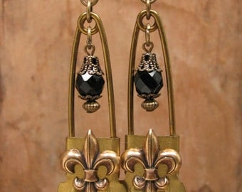 Upcycled Antique WWII Brass Laundry Pin Fleur de Lis Earrings with Black Onyx Beadwork