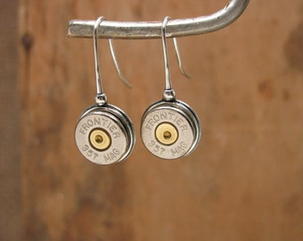 Bullet Jewelry - Bullet Jewelry - STERLING SILVER French Wire Bullet Casing Earrings - Classy, Lightweight, Quality
