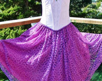 Corset Dress, Strapless dress, Gypsy dress, Lace dress, Summer dress, Violet Lace dress, size S