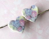 20% OFF! Heart Shaped Hair Pins. Pastel Pink & Light Blue Hydrangeas. White Porcelain. Soft Green. Lavender. Blue. Shabby Chic. Set of Two
