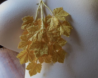 Gold Leaves Vintage Japanese Maple in Gold Lame for Bridal, Millinery, Bouquets, Crafts ML 111