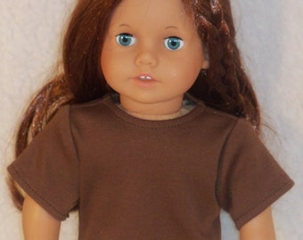 American Made 18 inch Doll Short Sleeved Brown T-Shirt