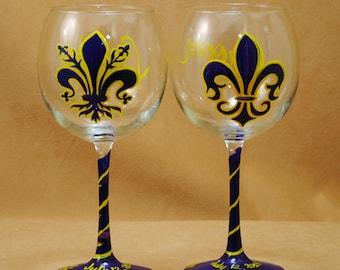 Fleur de Lis Bride and Groom Hand Painted Wine Glasses