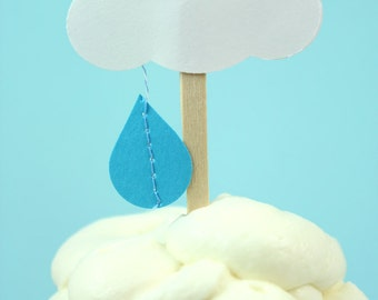 Baby Shower Cupcake Toppers - Set of 12  Little Rain Cloud toppers - Bridal Shower