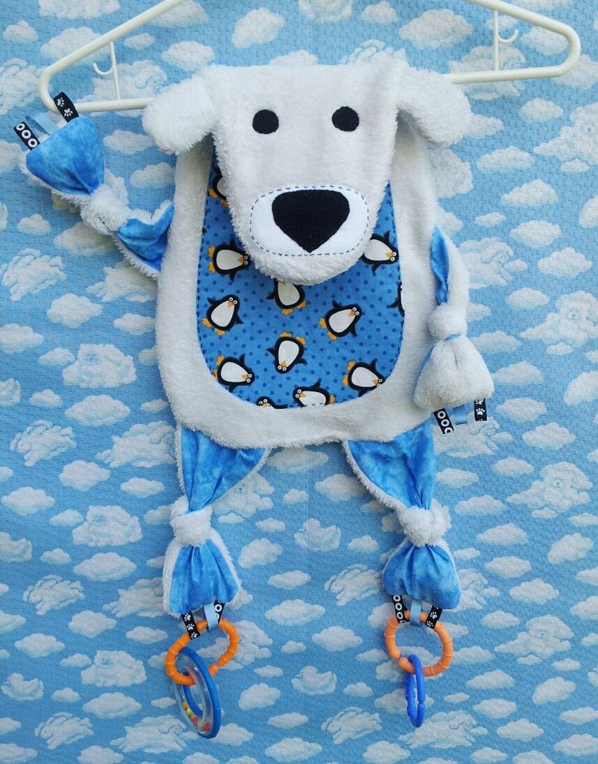Upcycled Critter Polar Bear Baby Activity Blanket