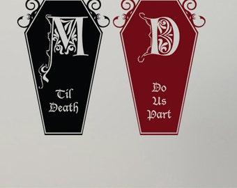Large Til Death Do Us Part-Coffin Decal Set-Custom Monogram/Color/FInish