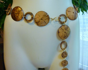 MOD Chain Belt from the 60s Coconut Shell Flowers TIKI