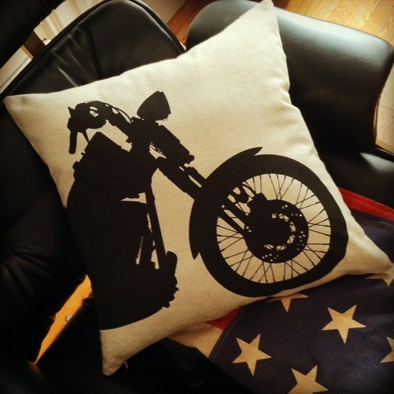 motorcycle pillow black on natural sandstone canvas