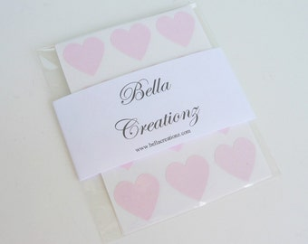 Pink Heart Stickers - Envelope Seals - Wedding Stickers - Valentines Stickers (48)