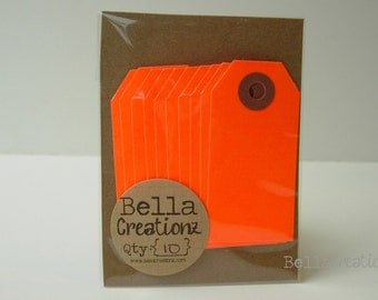 10 Neon Red Gift Tags - Parcel Tags