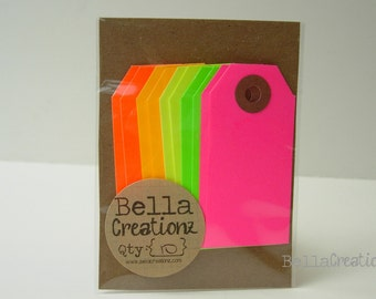 10 Neon Gift Tags - Parcel Tags Assortment