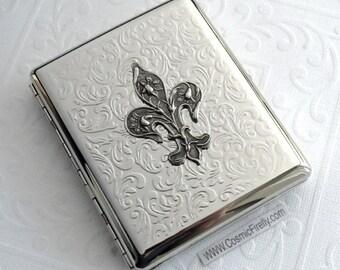 Fleur De Lis Cigarette Case Double Size Silver Plated Vintage Style Gothic Victorian Steampunk Case Woman's Gifts Silver Case