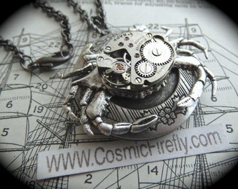Steampunk Necklace Silver Crab Locket Necklace Vintage Watch Movement Rustic Silver Locket Gothic Victorian Steampunk Nautical Art Jewelry