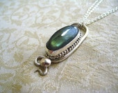 Labradorite Gemstone Necklace Handmade Sterling Silver Pendant One of a kind by Joyousworld