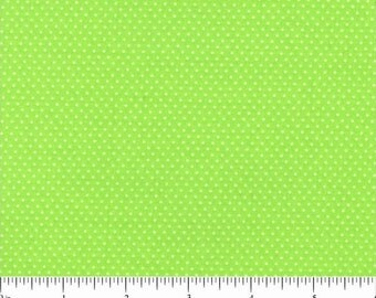 LIME GREEN Mini Dot Pin Dot Polka Dots Cotton Fabric by Santee Print Works - 1 Yard