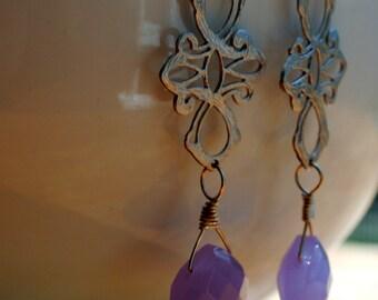 Dreamy -  Silver Oriental Lavender Chalcedony Earrings